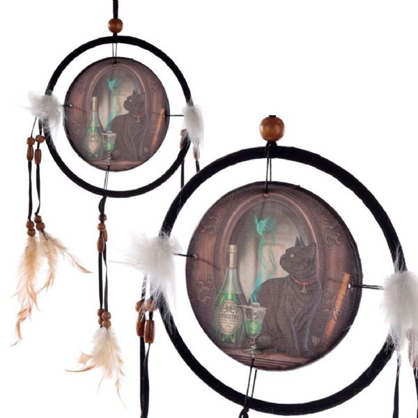 LISA PARKER Absinthe Black Cat Dream Catcher 16cm